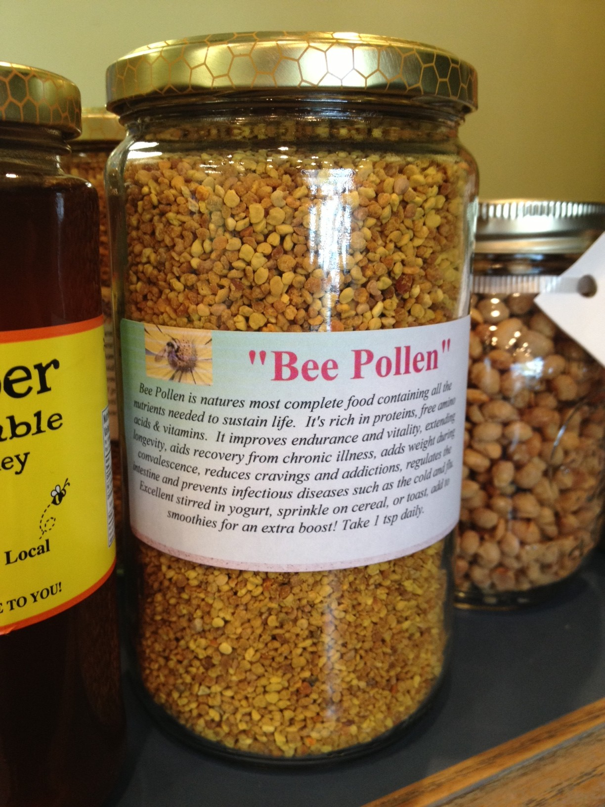 This is a jar of bee pollen I found for sale at The Lauriam Tea House in Bowmanville.  This jar is about $22.